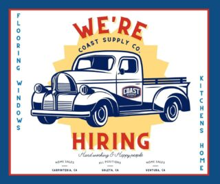 We're #hiring! We are looking for hardworking & happy people to join our team! Know anyone who might be a good fit? Send them our way!  LINK IN BIO   #coastsupplyco#santabarbarajobs#flooring#windows#homesales#jointheteam